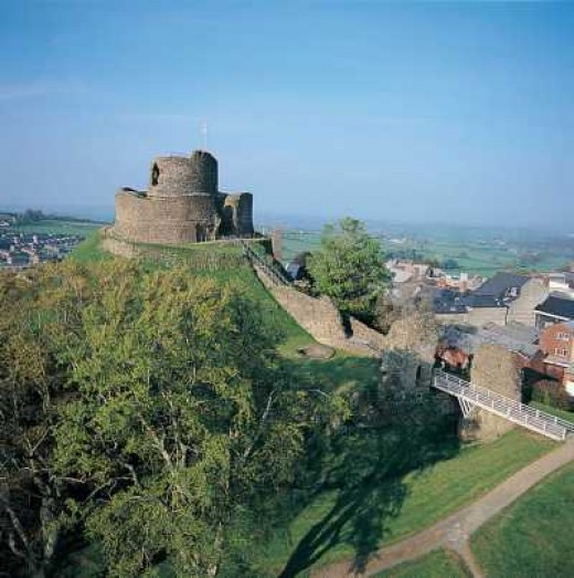 Launceston Castle above the modern town in central Cornwall