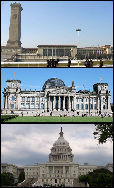Top to bottom: the Great Hall of the People, where China's National People's Congress meets; the German Reichstag, the seat of the German Parliament; and the United States Capital Building, where the US Congress convenes.