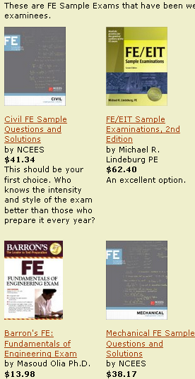 Easy comparison shopping of FE Sample Exams- and more FE study materials.