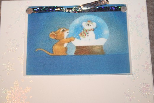 This is an example of a card printed from an image on the computer.  I rubber stamped the sides and embossed them with glittery embossing powder.