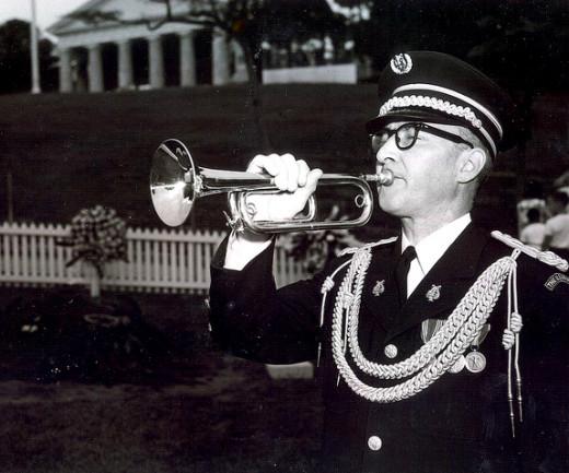Sgt. Clark at JFK's graveside.
