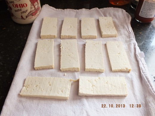 Lay your tofu out on a clean tea towel to absorb moisture.