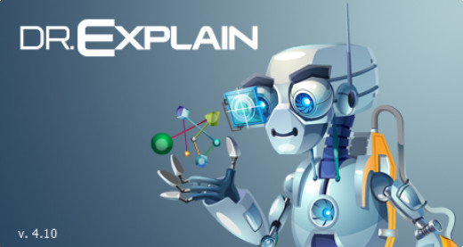 Figure 1:  The Splash Logo of Dr.Explain version 4.10, which is owned by Indigo Byte Systems and used here with its permission.