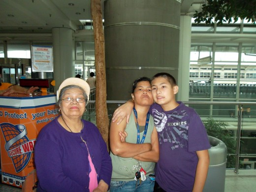 Mom, Matty and Grandma seeing me off at JFK airport in route to France