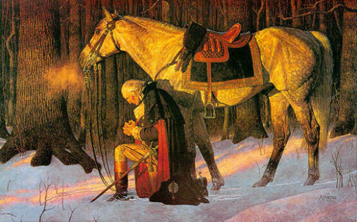 George Washington at prayer in the woods during his time at Valley Forge