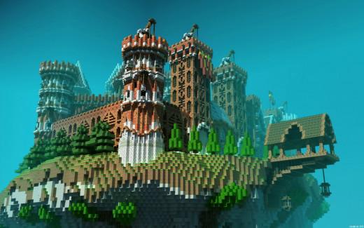 Floating Minecraft Island Castle