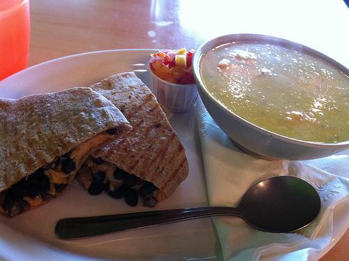Vegan black bean quesadilla and lentil dal soup