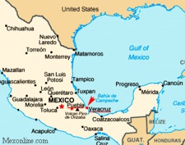 Map offering location of the Battle of Puebla.