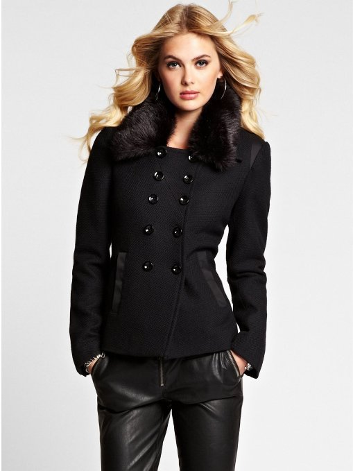 GUESS Women's Peacoat with Faux-Fur Collar