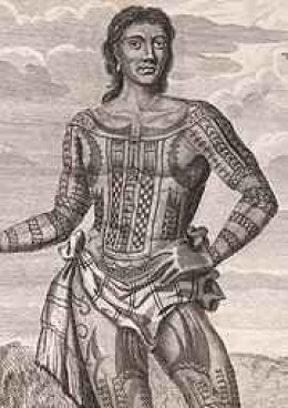 Prince Giolo was the first Austronesian brought to Europe in 1692. He and his mother were bought as slaves on the island of Mindanao by English privateer William Dampier. Originally from the island of Miangas previously Philippine territory but award
