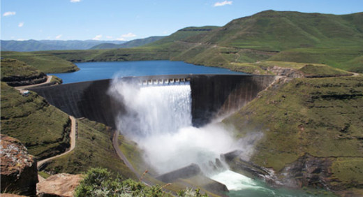 The wall of the highest dam in Africa, the Katse Dam in Lesotho