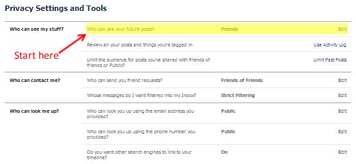 The Facebook Privacy Settings and Tools  Page, Center Column