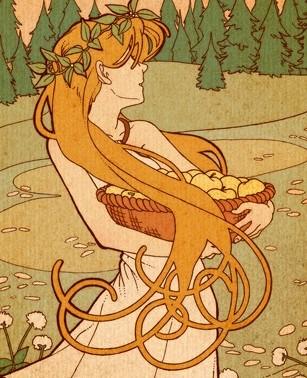 Idun carries a basket of her enchanted apples