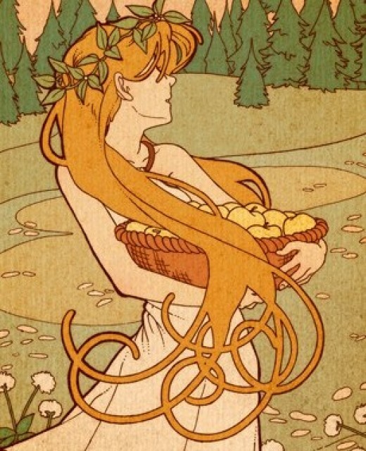 Idun carries a basket of her enchanted apples