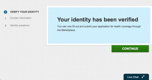 If you successfully verify your identity, you should see this. If you did not verify your identity online correctly, you will be told what you can do next.