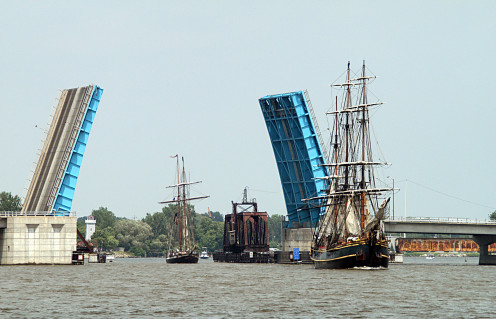 The Liberty Bridge on the Saginaw River allows clearance for tall ships in the annual Bay City Tall Ships Festival.