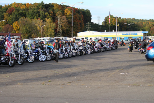 "Legion Riders line up to honor ""Wounded Warriors""."