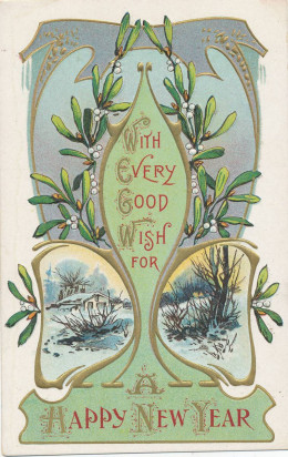 Nineteen century new year postcard with mistletoe, perhaps the most popular parasitic plant.