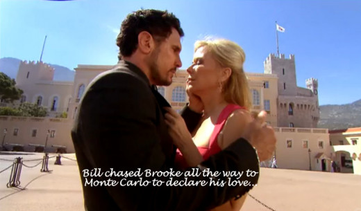 After Bill learned Katie had been spying on him and Brooke with nanny cams Bill dumped Katie and chased Brooke to Monte Carlo where she was attending a media event.