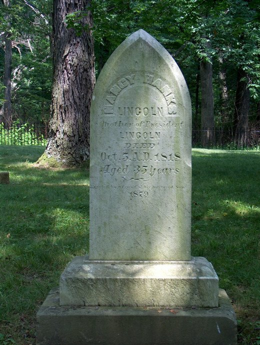 The grave marker for Nancy Hanks Lincoln