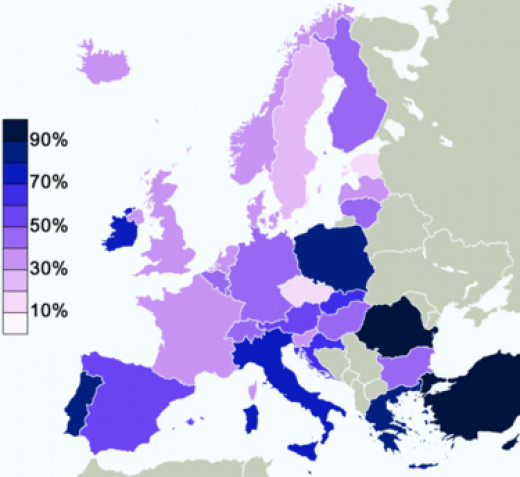 Percentage of Europeans in 2005 in each state who believe in a God.