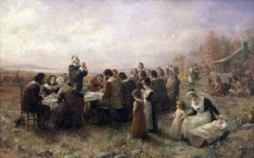 First Thanksgiving at Plymouth by Brownscombe, circa 1914