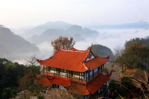 Beautiful Wu Yi Mountains where Wu Yi Rock tea is grown.