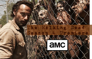 Rick standing in front of zombies behind a fence.