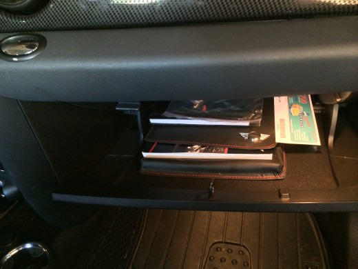 The glove box isn't the best spot to hold valuable items.  Keep it as empty as possible.