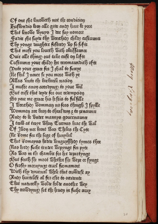 Page from Geoffrey Chaucer's 'Canterbury Tales', written in Middle English.