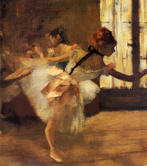 """Reptition of the Dance"" painted by Edgar Degas."