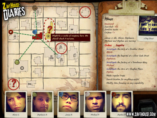 Basic Gameplay Screen. The markers designate where group members are in the town. The player has sent four character to investigate different places in town.