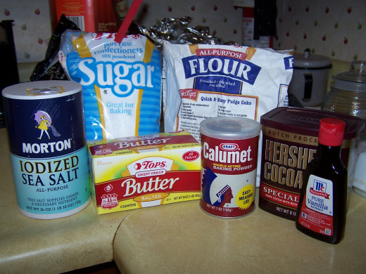 Here I have assembled all my ingredients in readyness for making my cake and frosting for same.