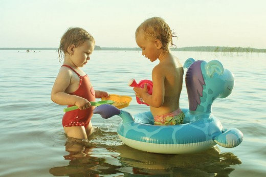 Kids love to play with water toys.