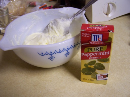 Here I have prepared my frosting and am ready to add the peppermint flavoring.