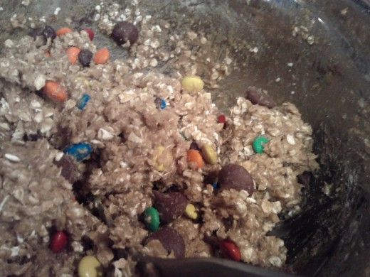 After you have mixed the ingredients, add in the m & m's and blend into the other ingredients