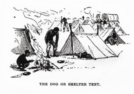 Illustration of Shelter Tents in camp. Note the muskets with fixed bayonets as tent poles