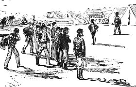 Illustration of troops Lining Up for Roll Call