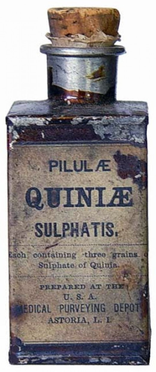 "Bottle of Quinine, the most ""popular"" medication of the war"