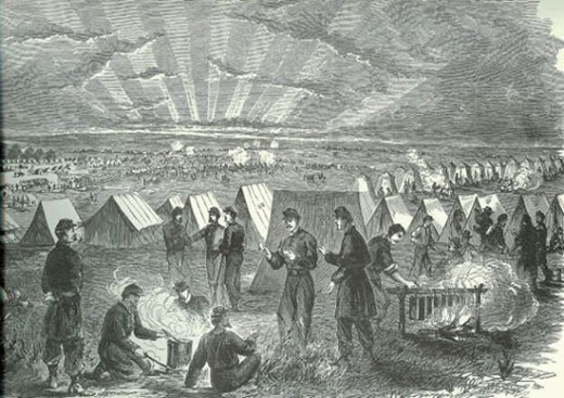 Illustration of Sunset and Retreat in Camp