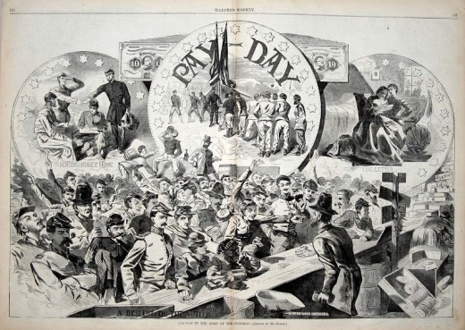Illustration of an Army Payday and the concomitant activities afterward