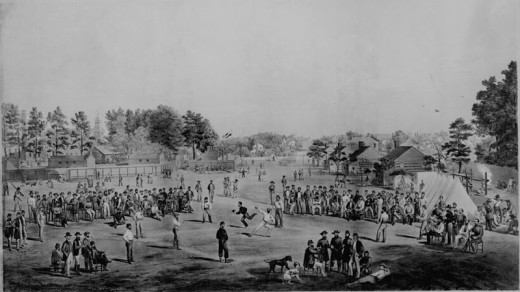A baseball game in camp