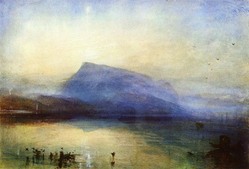 J.M.W. Turners famous watercolour called The Blue Rigi, Lake of Lucerne, Sunrise