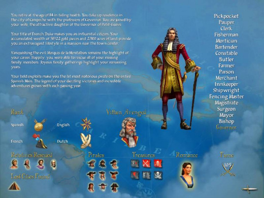 The end game screen. You can see the requirements for retiring happily from your pirate career. You'll note he retired in failing health - the game gets more difficult the longer you play out your career.
