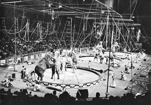 This appears to be the circus I saw when I was 6 or 10. Tiny isn't it? But then, so was I. Click to enlarge.