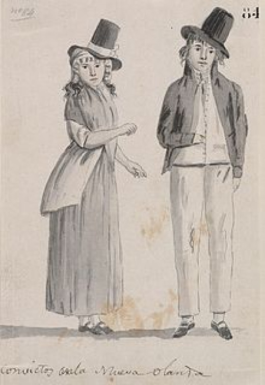 A drawing made of convicts by a crewman of a Spanish ship commanded by Alessandro Malaspina that visite Sydney in 1793 on a voyage of discovery.