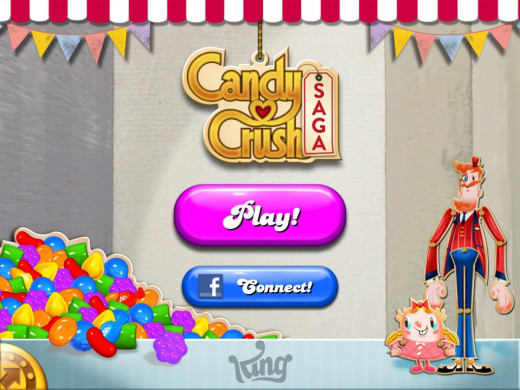 The main menu of the Candy Crush Saga app