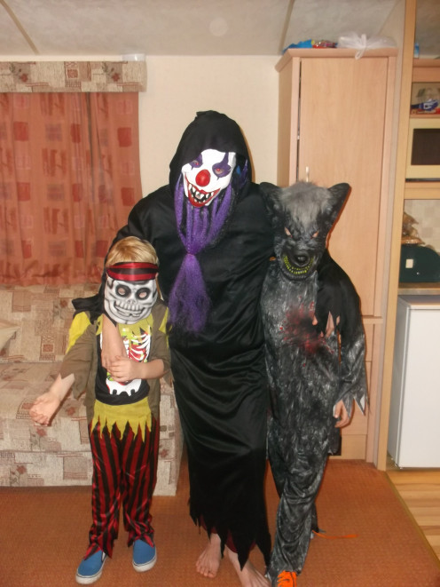 My little monsters enjoying Halloween