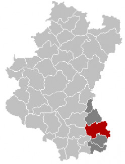 Map location of Arlon, in the Belgian province of Luxembourg