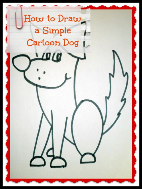 Easy step by step tutorial on how to draw a cartoon dog.